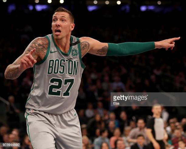 Daniel Theis of the Boston Celtics reacts to a call in the second half against the New York Knicks at Madison Square Garden on February 242018 in New...