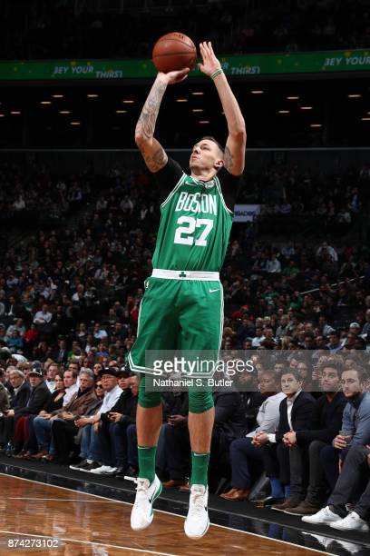 Daniel Theis of the Boston Celtics shoots the ball against the Brooklyn Nets on November 14 2017 at Barclays Center in Brooklyn New York NOTE TO USER...