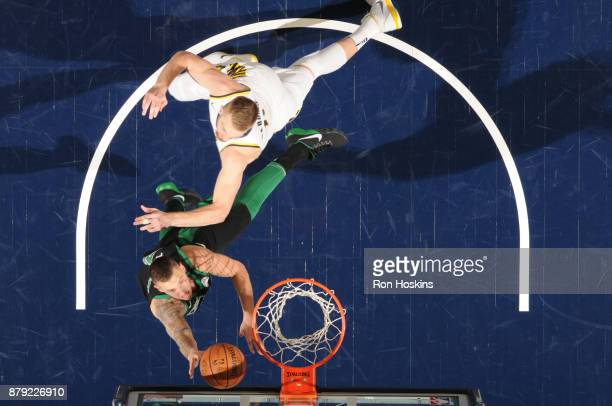 Daniel Theis of the Boston Celtics shoots the ball against the Indiana Pacers on November 25 2017 at Bankers Life Fieldhouse in Indianapolis Indiana...
