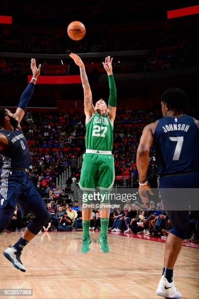 Daniel Theis of the Boston Celtics shoots the ball against the Detroit Pistons on February 23 2018 at Little Caesars Arena in Detroit Michigan NOTE...