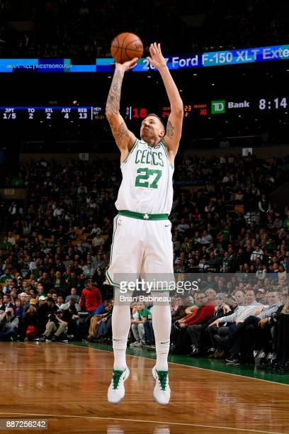 Daniel Theis of the Boston Celtics shoots the ball during the game against the Dallas Mavericks on December 6 2017 at the TD Garden in Boston...
