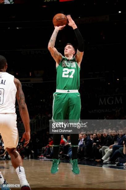 Daniel Theis of the Boston Celtics shoots the ball during the game against the Washington Wizards on February 8 2018 at Capital One Arena in...
