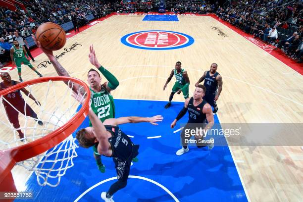 Daniel Theis of the Boston Celtics shoots the ball during the game against the Detroit Pistons on February 23 2018 at Little Caesars Arena in Detroit...