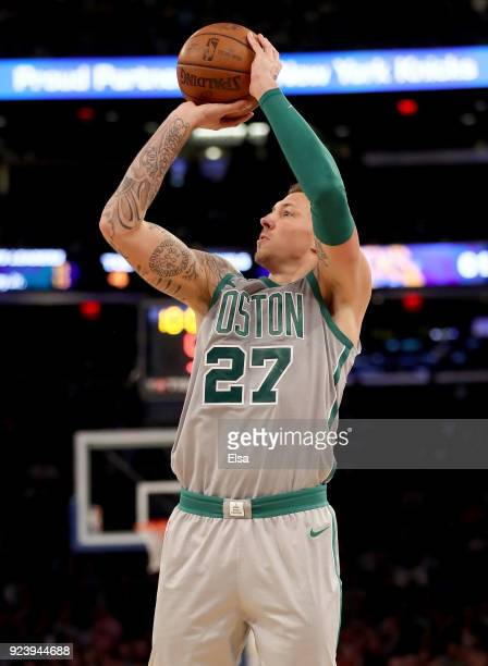 Daniel Theis of the Boston Celtics takes a shot in the second half against the New York Knicks at Madison Square Garden on February 242018 in New...