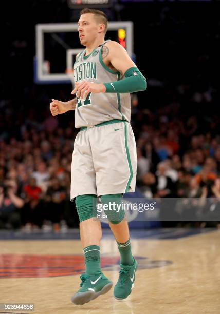 Daniel Theis of the Boston Celtics watches his sho in the second half against the New York Knicks at Madison Square Garden on February 242018 in New...