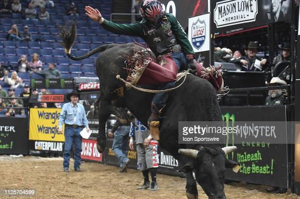 Daniel Tineman rides the bull Zamperini during the Professional Bullriders Mason Lowe Memorial on February 16 at Enterprise Center St Louis MO