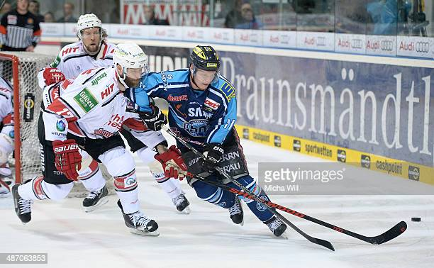 Daniel Tjaernqvist of Koeln Charlie Stephens of Koeln and Christoph Gawlik of Ingolstadt battle for the puck in game six of the DEL final playoffs...