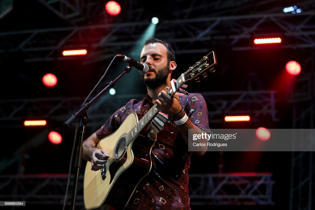 Daniel Toboso Berruga singer of the band Vermu performs during Day 1 of NOS Alive Festival 2018 on July 12, 2018 in Lisbon, Portugal.