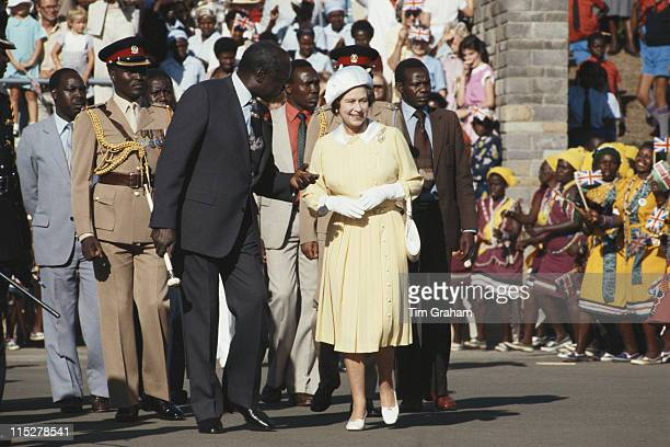 Daniel Toroitich arap Moi President of Kenya alongside Queen Elizabeth II following her arrival in Nairobi at the start of her fourday state visit to...