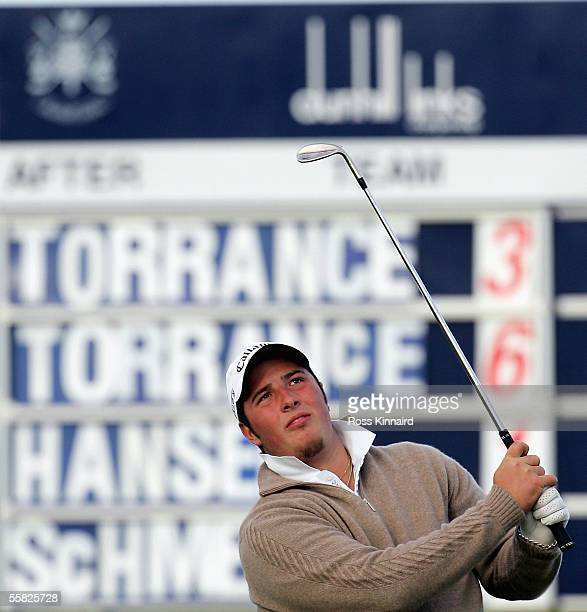 Daniel Torrance son of former Ryder Cup captain Sam plays his third shot on the par four 17th hole during the first round of the Dunhill Links...
