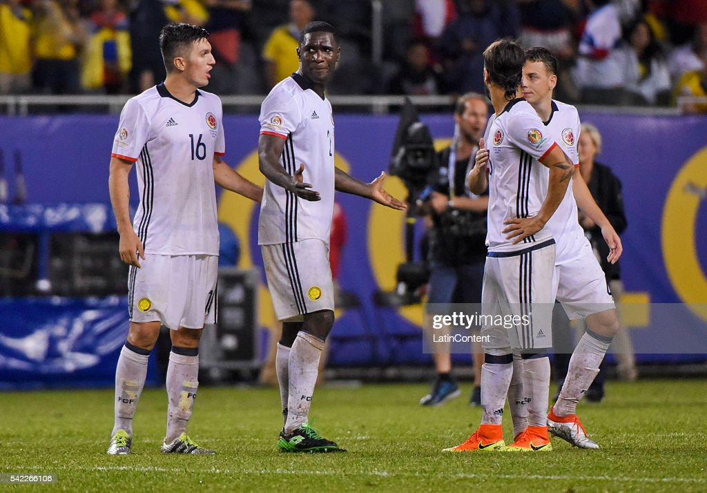 Daniel Torres and Cristian Zapata of Colombia look dejected after losing the Semifinal match between Colombia and Chile at Soldier Field as part of Copa America Centenario US 2016 on June 22, 2016 in Chicago, Illinois, US.