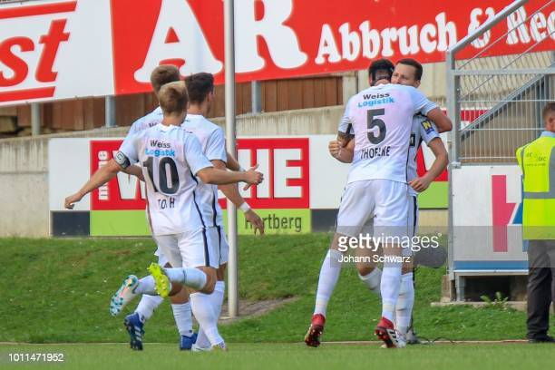 Daniel Toth of Admira, Bjarne Thoelke of Admira and Stephan Zwierschitz of Admira celebrate during the tipico Bundesliga match between TSV Hartberg v...