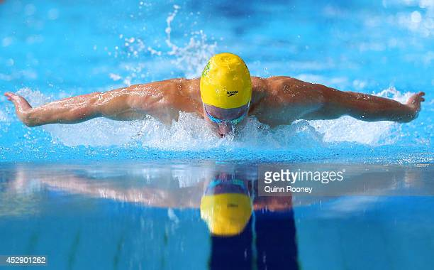 Daniel Tranter of Australia competes in the Men's 200m Individual Medley Final at Tollcross International Swimming Centre during day six of the...