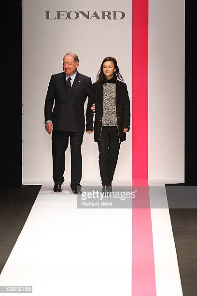 Daniel Tribouillard and designer Veronique Leroy walk the runway during the Leonard Ready to Wear Autumn/Winter 2011/2012 show during Paris Fashion...