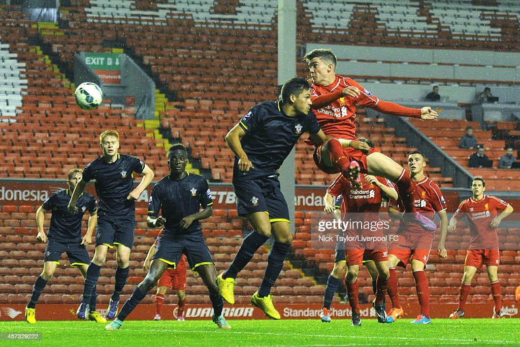 Daniel Trickett-Smith of Liverpool and Nial Mason of Southampton in action during the Barclays Premier League Under 21 fixture between Liverpool and Southampton at Anfield on October 16 in Liverpool, England.
