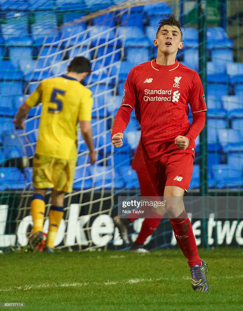 Daniel Trickett-Smith of Liverpool celebrates his goal during the Liverpool v Leeds United U21 Premier League Cup game at Prenton Park on January 19, 2016 in Birkenhead, England.