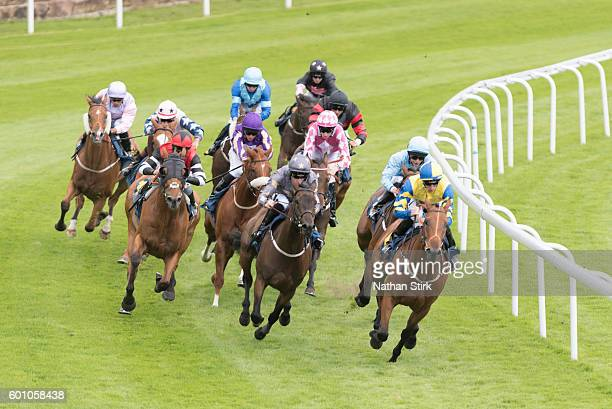 Daniel Tudhope riding Alejandro during the MBNA Little Legs Mile at Chester racecourse on July 31 2016 in Chester England