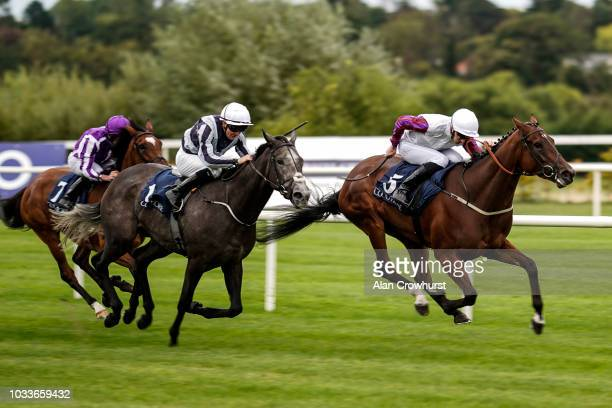 Daniel Tudhope riding Laurens win The Coolmore Fastnet Rock Matron Stakes from Alpha Centauri at Leopardstown Racecourse on September 15 2018 in...