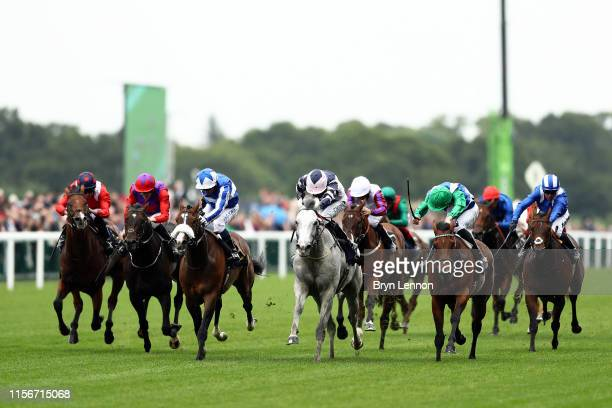 Daniel Tudhope riding Lord Glitters in action on his way to winning the Queen Anne Stakes on day one of Royal Ascot at Ascot Racecourse on June 18...