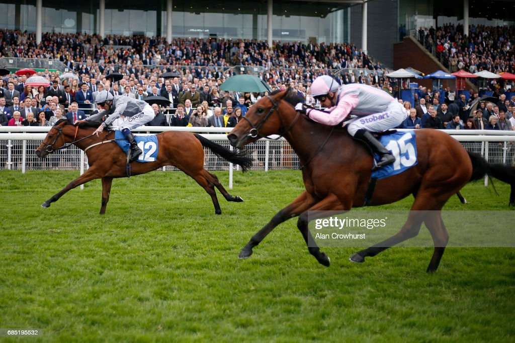 Daniel Tudhope riding Main Desire (L) win The Langleys Solicitors British EBF Marygate Fillies Stakes at York racecourse on May 19, 2017 in York, England.