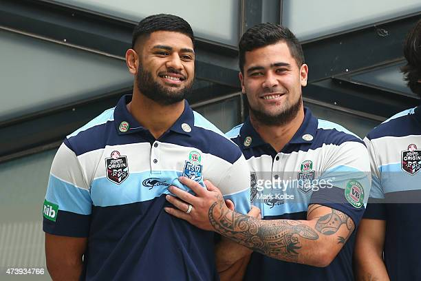 Daniel Tupou and Andrew Fifita share a joke as they pose for a group photo during the New South Wales Blues State of Origin Team Announcement and...