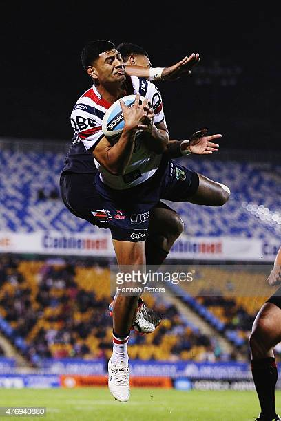 Daniel Tupou of the Roosters catches the high ball during the round 14 NRL match between the New Zealand Warriors and the Sydney Roosters at Mt Smart...