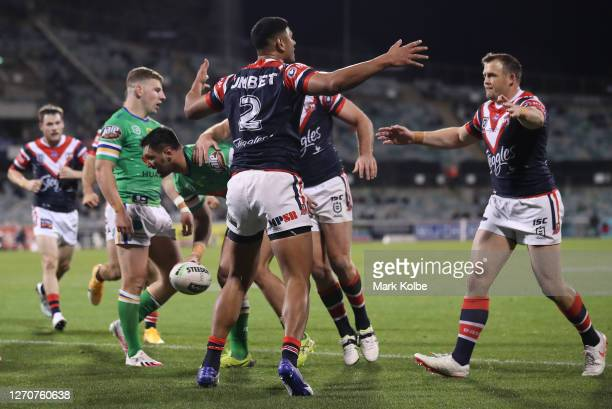 Daniel Tupou of the Roosters celebrates after scoring a try during the round 17 NRL match between the Canberra Raiders and the Sydney Roosters at GIO...