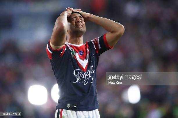 Daniel Tupou of the Roosters celebrates victory at the end of the 2018 NRL Grand Final match between the Melbourne Storm and the Sydney Roosters at...