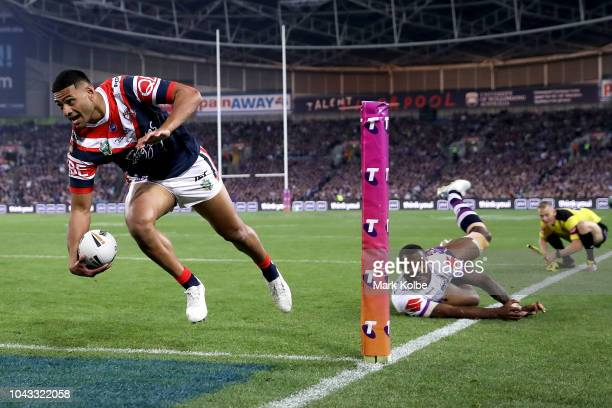 Daniel Tupou of the Roosters scores a try during the 2018 NRL Grand Final match between the Melbourne Storm and the Sydney Roosters at ANZ Stadium on...