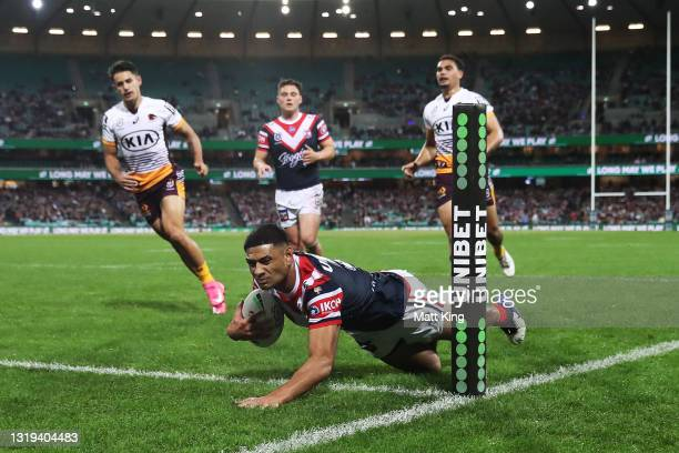 Daniel Tupou of the Roosters scores a try during the round 11 NRL match between the Sydney Roosters and the Brisbane Broncos at Sydney Cricket...