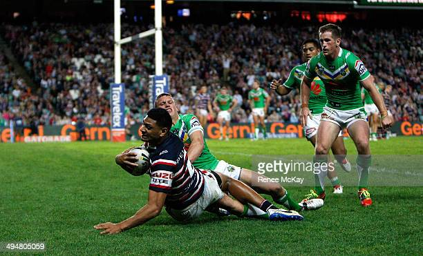 Daniel Tupou of the Roosters scores a try during the round 12 NRL match between the Sydney Roosters and the Canberra Raiders at Allianz Stadium on...