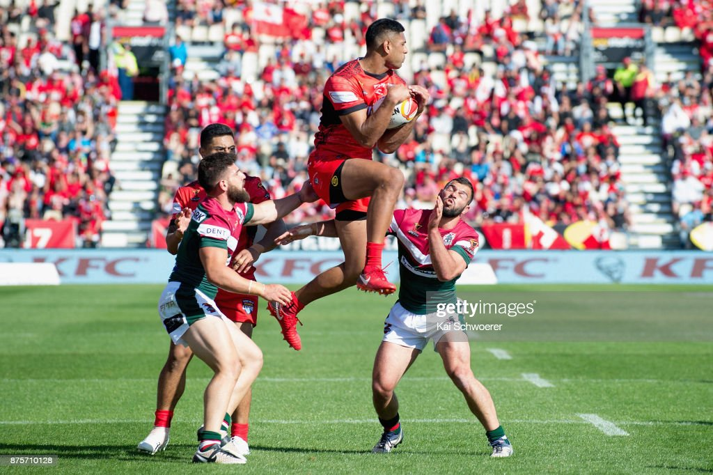 Daniel Tupou of Tonga catches a ball during the 2017 Rugby League World Cup Quarter Final match between Tonga and Lebanon at AMI Stadium on November 18, 2017 in Christchurch, New Zealand.