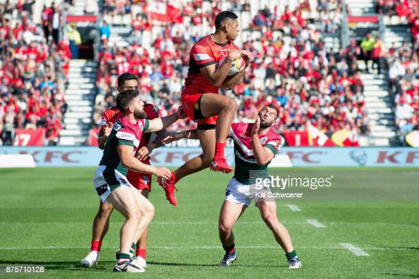 Daniel Tupou of Tonga catches a ball during the 2017 Rugby League World Cup Quarter Final match between Tonga and Lebanon at AMI Stadium on November...