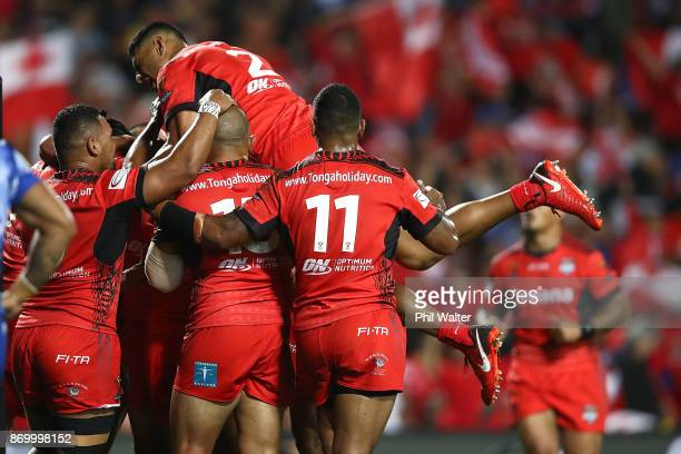 Daniel Tupou of Tonga celebrates a try during the 2017 Rugby League World Cup match between Samoa and Tonga at Waikato Stadium on November 4 2017 in...
