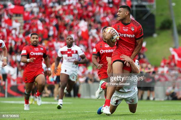 Daniel Tupou of Tonga during the 2017 Rugby League World Cup Semi Final match between Tonga and England at Mt Smart Stadium on November 25 2017 in...