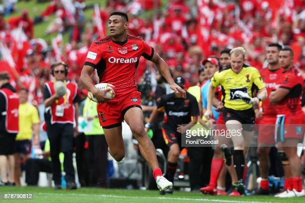 Daniel Tupou of Tonga during the 2017 Rugby League World Cup Semi Final match between Tonga and England at Mt Smart Stadium on November 25, 2017 in...