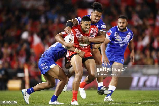 Daniel Tupou of Tonga is tackled by the Samoan defence during the 2018 Pacific Test Invitational match between Tonga and Samoa at Campbelltown Sports...