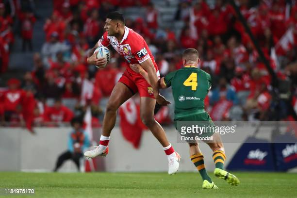Daniel Tupou of Tonga looks to pass during the Rugby League International Test match between the Australia Kangaroos and Tonga at Eden Park on...