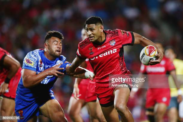 Daniel Tupou of Tonga makes a break during the 2017 Rugby League World Cup match between Samoa and Tonga at Waikato Stadium on November 4 2017 in...