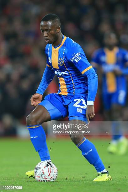 Daniel Udoh of Shrewsbury in action during the FA Cup Fourth Round Replay match between Liverpool and Shrewsbury Town at Anfield on February 4 2020...