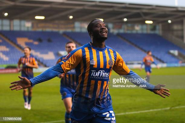 Daniel Udoh of Shrewsbury Town celebrates after scoring a goal to make it 1-0 during the Emirates FA Cup Second Round match between Shrewsbury Town...