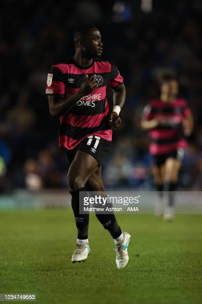 Daniel Udoh of Shrewsbury Town during the Sky Bet League One match between Portsmouth and Shrewsbury Town at Fratton Park on August 17, 2021 in...