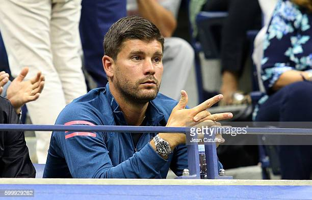 Daniel Vallverdu coach of Grigor Dimitrov of Bulgaria attends his match during day 8 of the 2016 US Open at USTA Billie Jean King National Tennis...