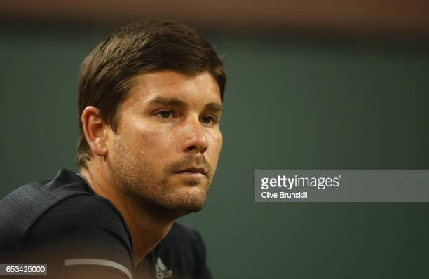 Daniel Vallverdu coach of Grigor Dimitrov of Bulgaria watches him play against Jack Sock of the United States in their third round match during day...
