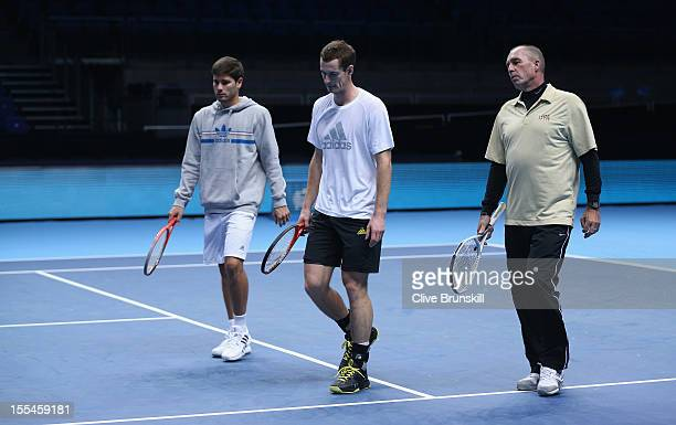 R Daniel Vallverdu hitting partnerAndy Murray of Great Britain and his coach Ivan Lendl during a practice session prior to the start of ATP World...