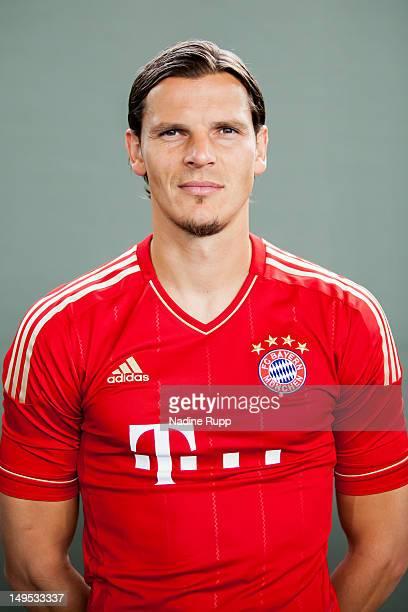 Daniel van Buyten poses during the Bayern Muenchen team presentation at Bayern's training ground Saebener Strasse on July 30 2012 in Munich GermanyÊ
