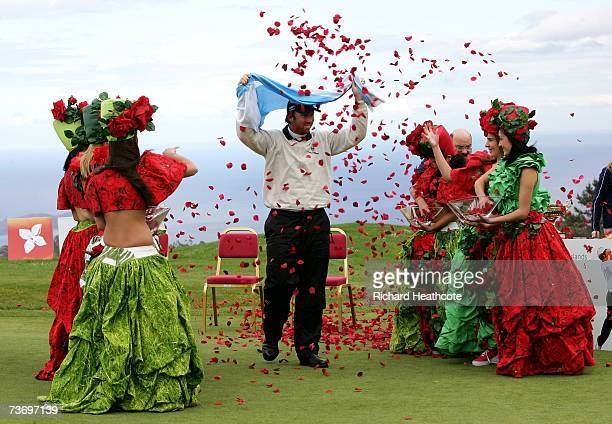 Daniel Vancsik of Argentina is showered with petals by girls in traditional local dress after the final round of the Madeira Islands Open BPI 2007 at...
