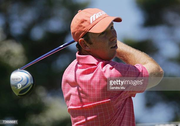 Daniel Vancsik of Argentina tees off on the 12th hole during round three of the New Zealand Open at Gulf Harbour Country Club on the Whangaparoa...