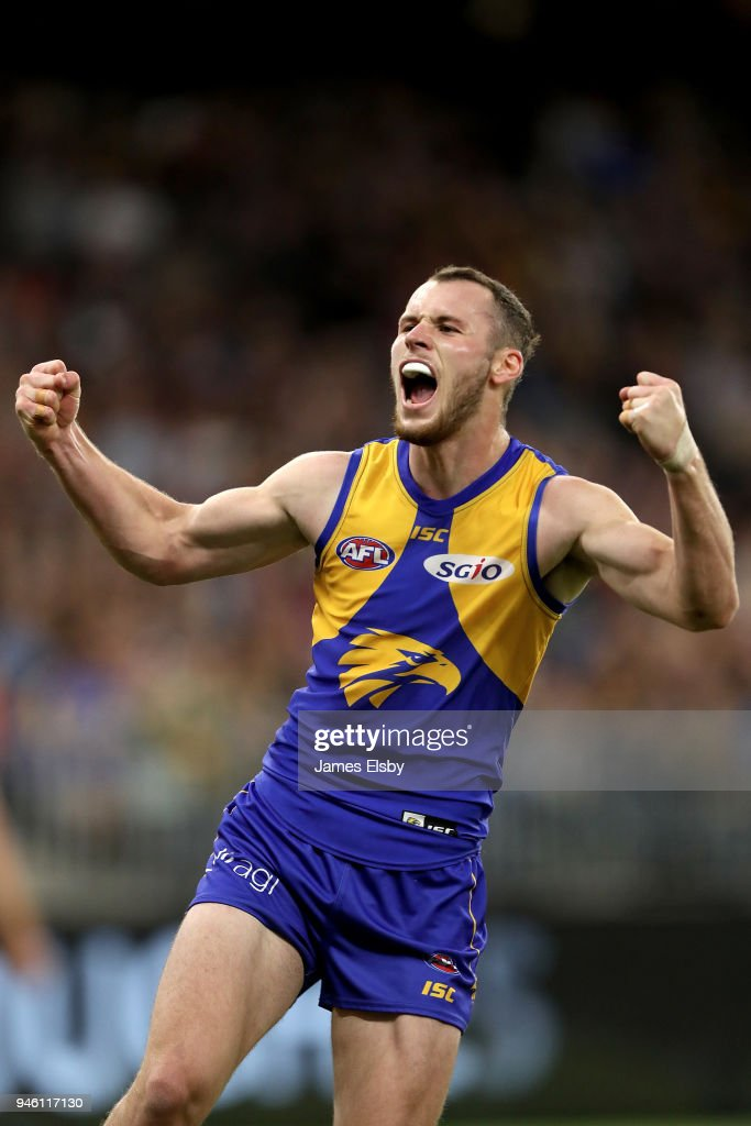 Daniel Venables of the Eagles celebrates a goal during the round four AFL match between the West Coast Eagles and the Gold Coast Suns at Optus Stadium on April 14, 2018 in Perth, Australia.
