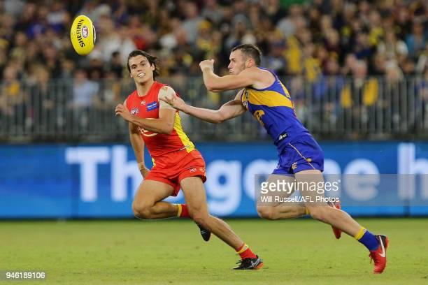 Daniel Venables of the Eagles handpasses the ball during the round four AFL match between the West Coast Eagles and the Gold Coast Suns at Optus...